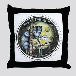 The Frosty 'Possum Pub Throw Pillow